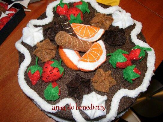 Felt strawberry cake