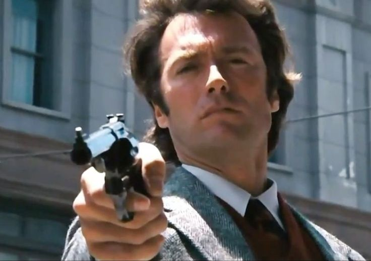 Dirty Harry (Clinton Eastwood) wields his Smith and Wesson Model 29 .44 magnum revolver.