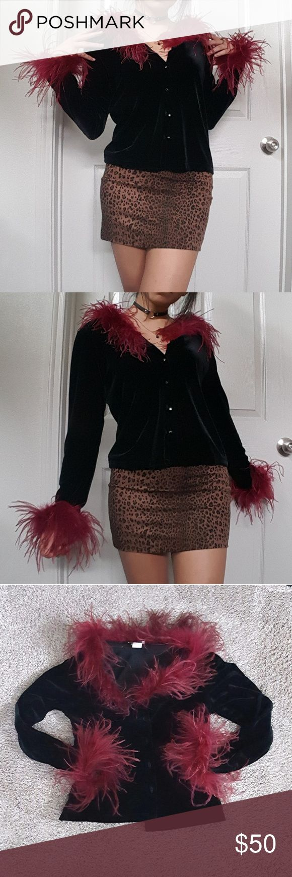 Vintage Feather Trimmed Cardigan **Vintage!!**I cannot express how fucking cute this Black velvet cardigan is. It has 2-ply marabou feather trimming in a deep red color. So 90s goth! Definitely a vintage gem! I found this baby and im kinda debating if i should sell it or not. It really is an amazing cute vintage piece! Its a size S. (Listed as UNIF for exposure) Sweaters Cardigans