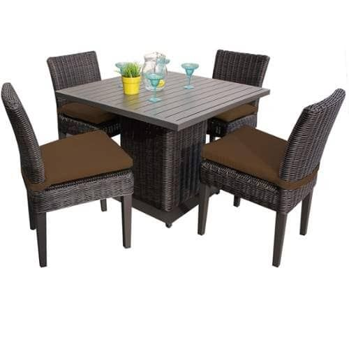 Miseno MPF-VNCESQREKIT4ADCC Mediterranean 5-Piece Aluminum Framed Outdoor Dining (Cocoa (Brown)), Outdoor Décor (Wicker)