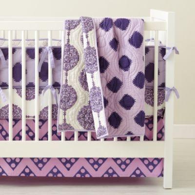 Baby Crib Bedding: Baby Purple Patterned Crib Bedding Set