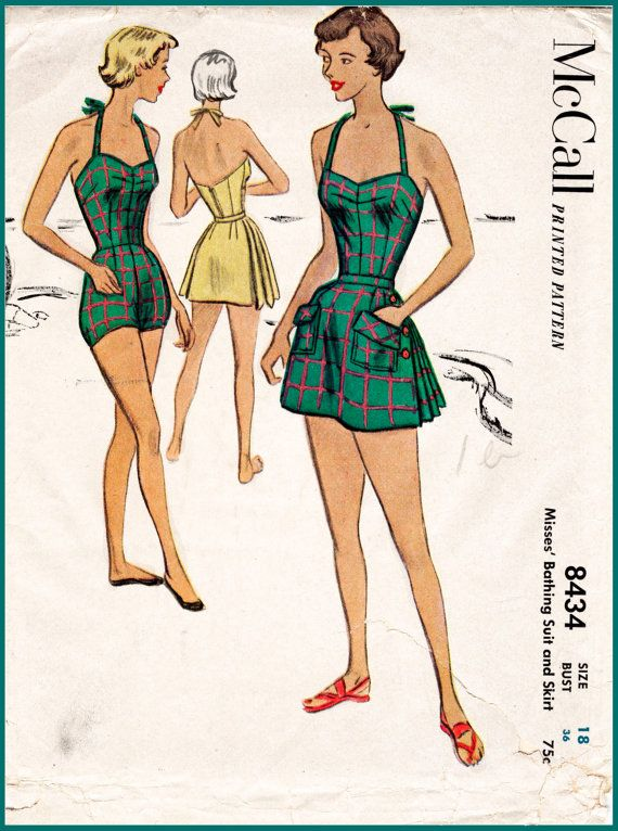 b1bc802ebd 1950s 50s McCall 8434 vintage swimsuit sewing pattern pleated one piece  halter playsuit bathing suit beach romper swimwear bus…