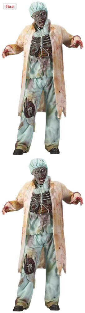 Fun World Costumes Mens Zombie Doctor, Light Green, One Size, Lab coat, shirt with fully detailed, rotted chest attached, pants with rotted knee exposed, rotting zombie mask, surgical mask, cap and latex gloves. Standard Adult size fits 140-200lbs., #Apparel, #Men