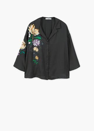 Camisa detall brodat - Camises - Dona | MANGO Espanya