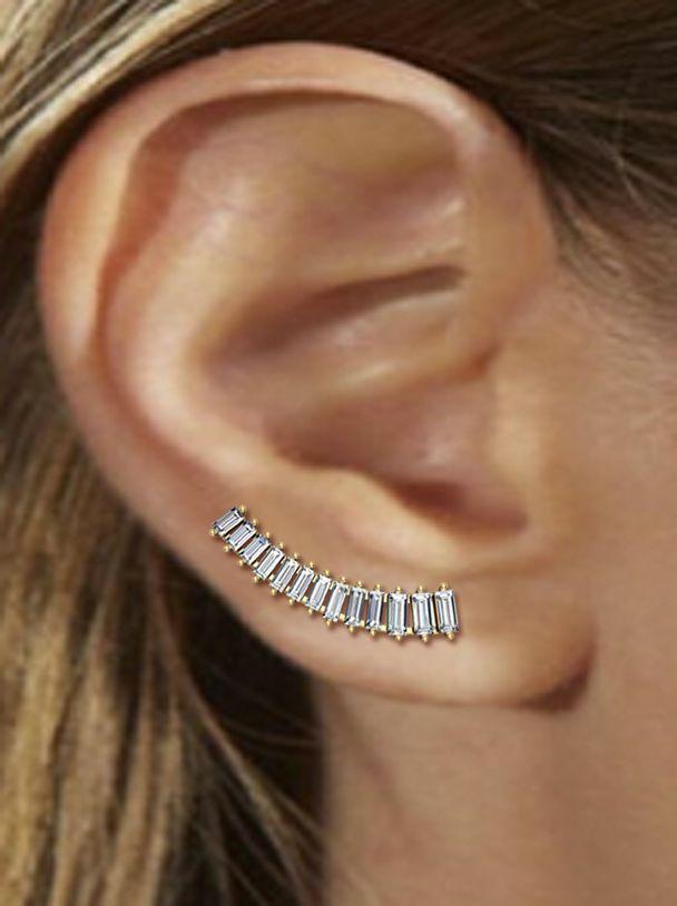 Sarah Noor Baby Baguette Earring 18k Yellow Gold VS/G Diamonds