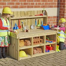 Outdoor Wooden Builder's Role Play Bench