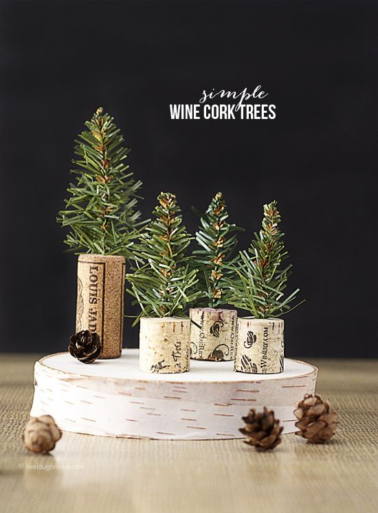 Simple Wine Cork Trees! Perfectly rustic feel for dinner favors or a sweet edition to you holiday decor. Tutorial at www.livelaughrowe.com #christmas #corks