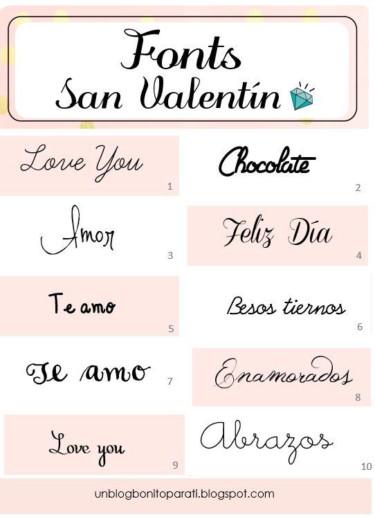 Tipos de letras para San Valentín
