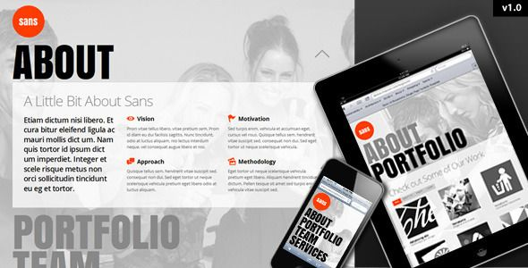 Sans - Responsive, One Page Portfolio Template   http://themeforest.net/item/sans-responsive-one-page-portfolio-template/3004437?ref=damiamio      Sans is a fully responsive, single page template that displays properly on smartphones, tablets, notebooks and desktop devices.  Note: You should be familiar with HTML, CSS & the PrettyPhoto plugin before you purchase this theme. 2.11.2013 Update v1.3   Fixed issue with menu arrow mouse over, added replacement arrow for mobile screens  Fixed menu…