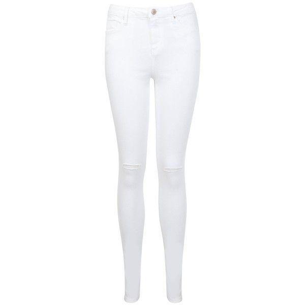 Miss Selfridge Regular Lizzie Slash Knee Jeans, White (63 NZD) ❤ liked on Polyvore featuring jeans, super skinny jeans, white jeans, denim jeans, mens jeans y skinny jeans