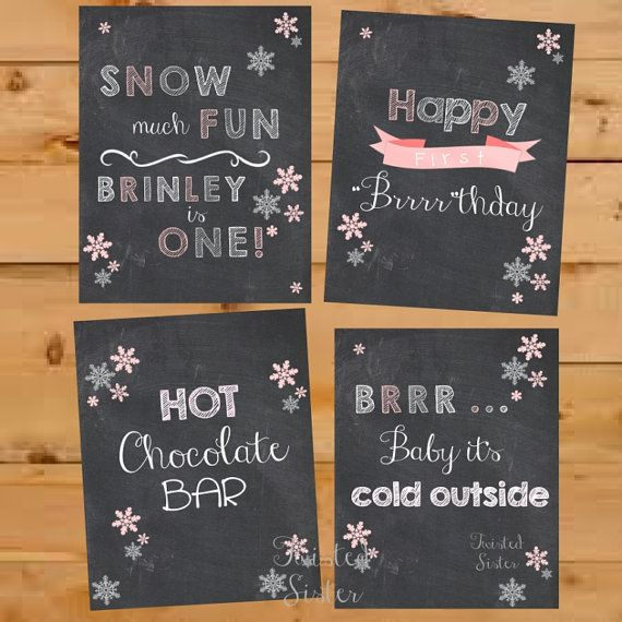 Winter ONEderland Birthday Decor, Baby it's cold outside, hot chocolate bar, snow much fun, happy brrrthday