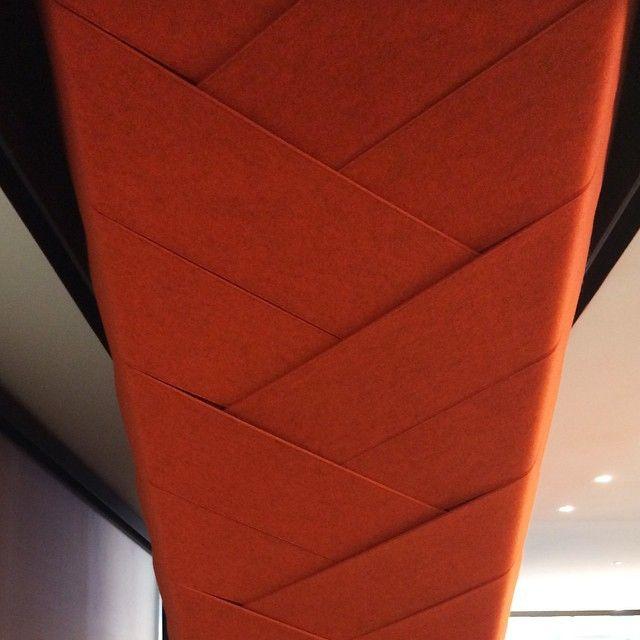 Underside of #stairway. #stair #felt #orange #knoll #filzfelt #architecture #interiors #interiordesign #design #textiles