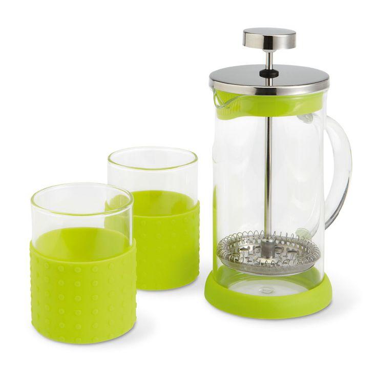 Infusiera da 350 ml per caffè americano o thè con due bicchieri con impugnatura in silicone