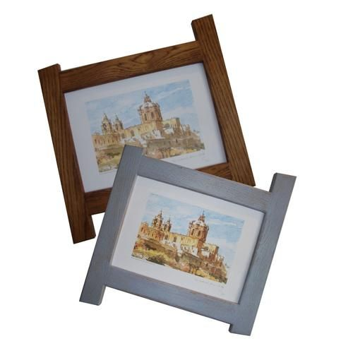 Solid reclaimed Oak frames shown in Antique and blue colourwash.