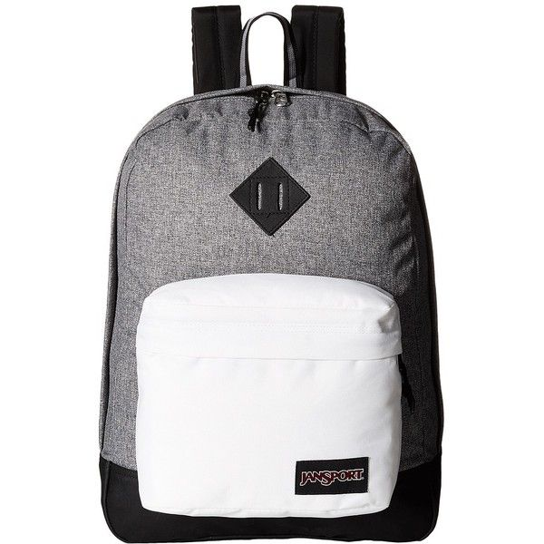 JanSport Super FX (Black/White Letterman) Backpack Bags ($40) ❤ liked on Polyvore featuring bags, backpacks, black and white backpack, pocket backpack, jansport bags, jansport and embroidered backpacks