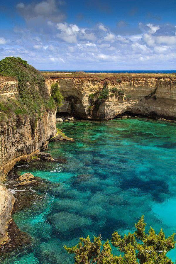 Sea cliffs, Lecce, Salento, Italy