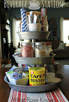 organizing beverages with a 3 tier galvanized tray, organizing, repurposing upcycling, Organized Beverage Station