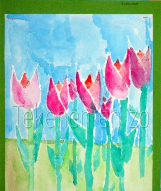 Door Evelina, groep 7  Benodigheden: bos tulpen tekenpapier op A4 formaat witte wascokrijtjes waterverf penselen pot met water Bekijk met d...