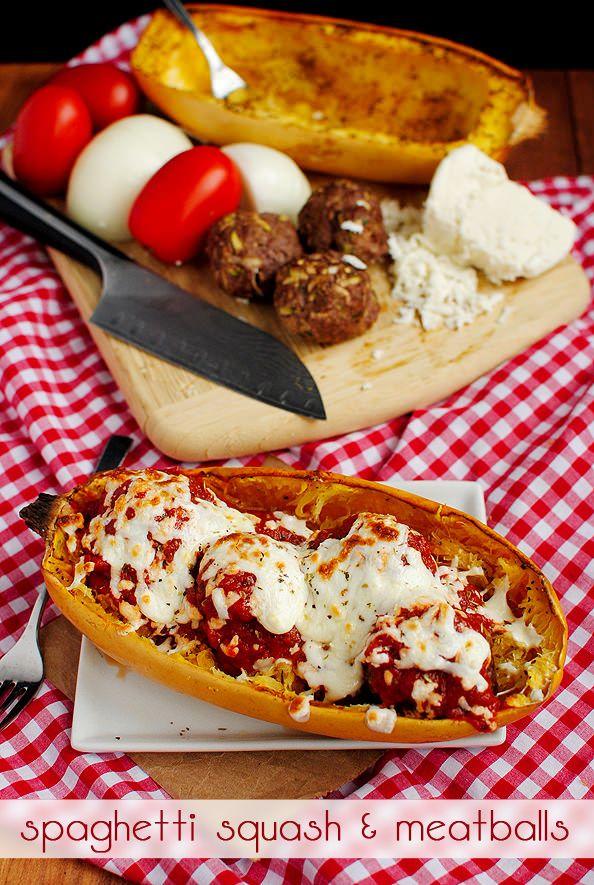Low-Carb Spaghetti Squash & Meatballs #lowcarb #dinner @IowaGirlEats | iowagirleats.com
