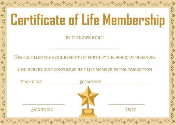 free life membership certificate templates