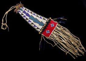 Lot:Lakota Sioux Beaded Tomahawk Drop 19th C., Lot Number:119A, Starting Bid:$25, Auctioneer:North American Auction Company, Auction:Lakota Sioux Beaded Tomahawk Drop 19th C., Date:07:00 AM PT - Sep 17th, 2016