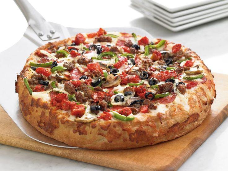 BJ's Favorite Deep Dish Pizza - The Works! Oven-baked meatballs, pepperoni, Italian sausage, mushrooms, green peppers, black olives, white onions and seasoned tomatoes. #pizza #deepdishpizza: