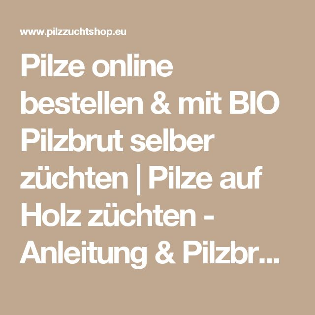 Simple Pilze online bestellen u mit BIO Pilzbrut selber z chten Pilze auf Holz z chten Anleitung