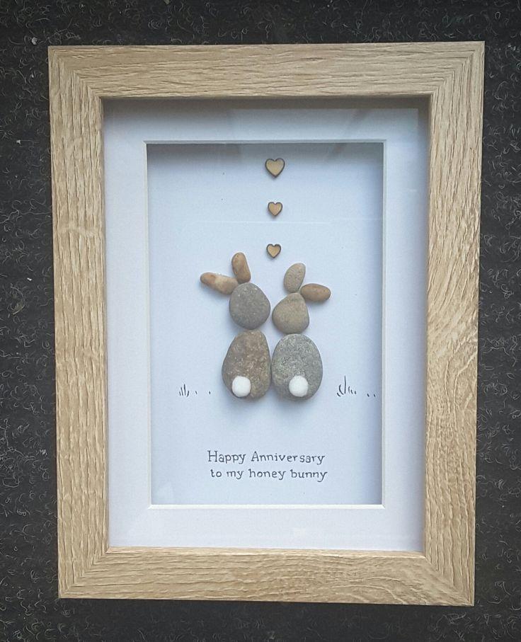 Anniversary Gift,Pebble Art Picture,bunny present,anniversary ideas,rabbit picture,handmade gift,rabbit gifts, honey bunny, hunny bunny by CoastalPebblesShop on Etsy