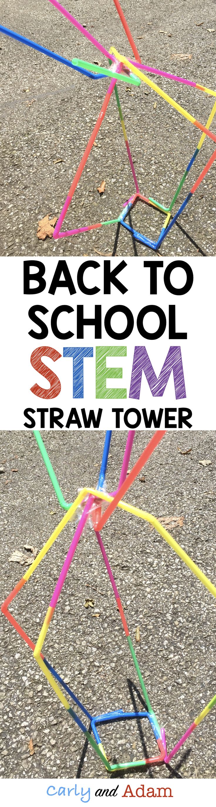 Back to School STEM Challenge: Straw Tower Studnets work together in groups to complete this beginning of the year STEM challenge to build the tallest tower out of straws and tape,