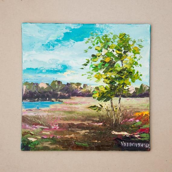 Bright Summer Oil Painting Miniature Original Artwork On Painting Colorful Landscape Oil Painting