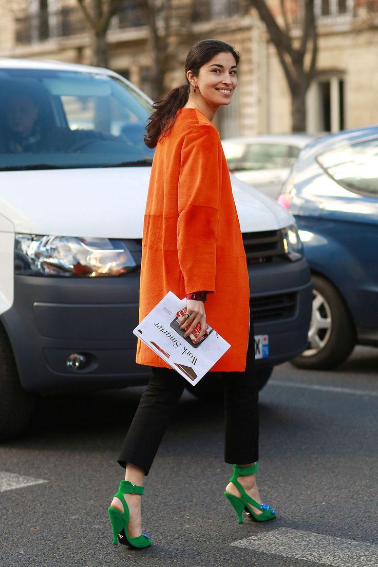 Caroline Issa in a bright coat and heels  - Paris Fashion Week #StreetStyle Fall 2014 #PFW