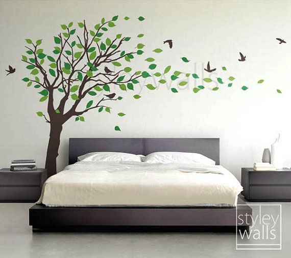 Tree decal Wall Sticker Tree with Birds and leaves blowing in the Wind - EXTRA LARGE Vinyl Wall Decal Sticker Nursery Kids Baby Children, $119.00