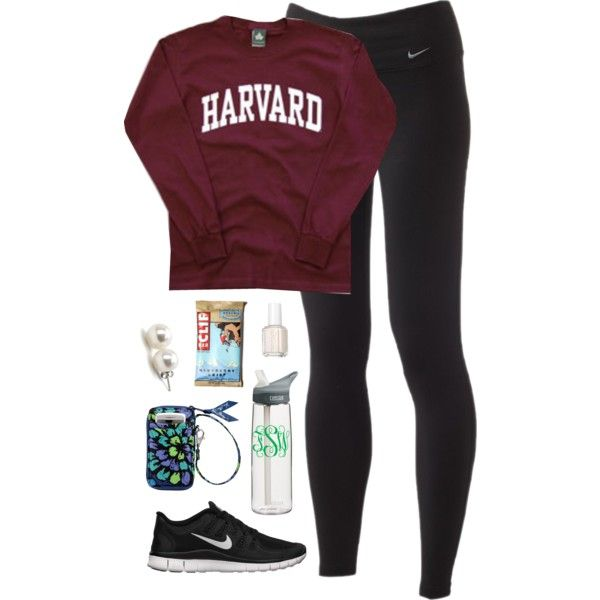 school by classically-preppy on Polyvore featuring polyvore, fashion, style, NIKE, Vera Bradley, Bounkit, Essie and CamelBak