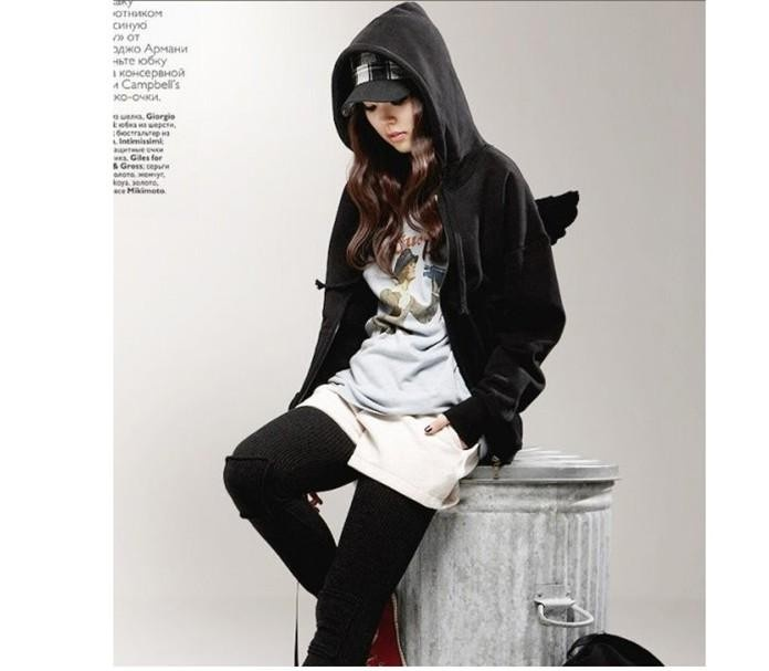 Black Asian Fashion Hoodie With A Zipper And Angel Wings At The Back