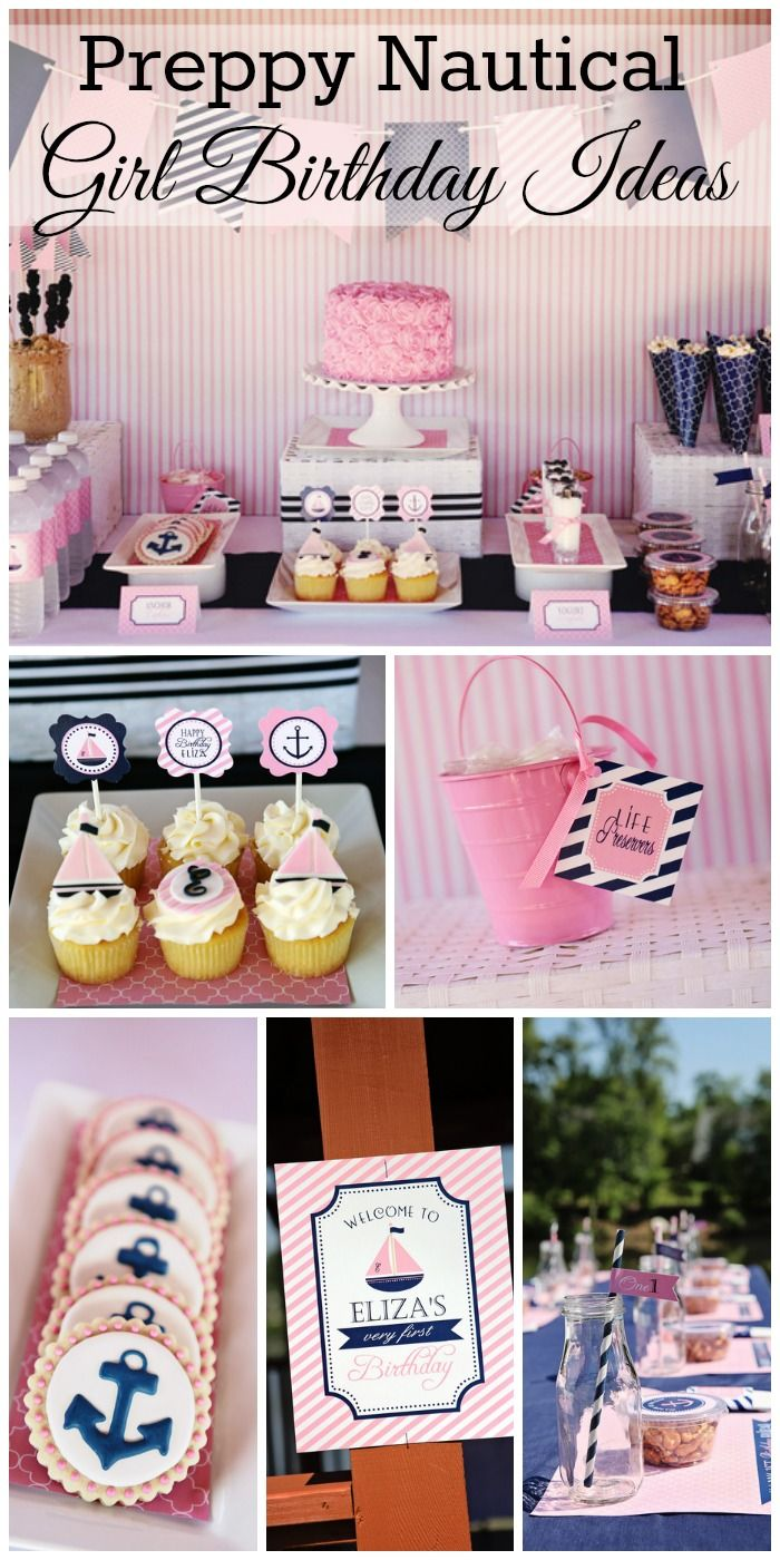 What a cute preppy nautical girl birthday party! Love all the pink and navy details! See more party ideas at CatchMyParty.com. #partyideasforkids