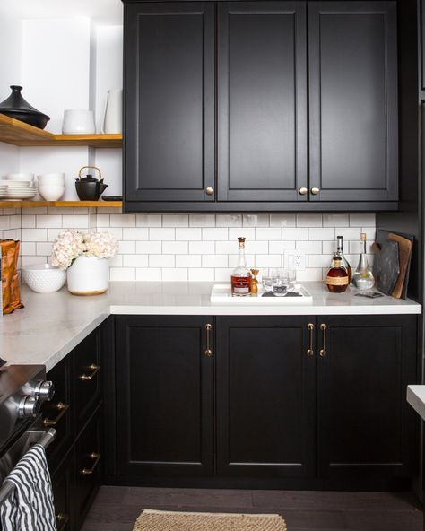 modern kitchen with black cabinets and open shelving | new house