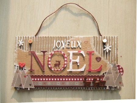 """Toujours dans la série déco de Noël, voici une pancarte """"Joyeux Noël"""" avec la collection """"Noël en famille"""" Matériel TOGA: papiers """"Noël en Famille"""", kit embellissements """"Noël en Famille"""", tampons """"Noël en Famille"""", chipboard """"Hiver en forêt"""", rub-on """"Noël..."""