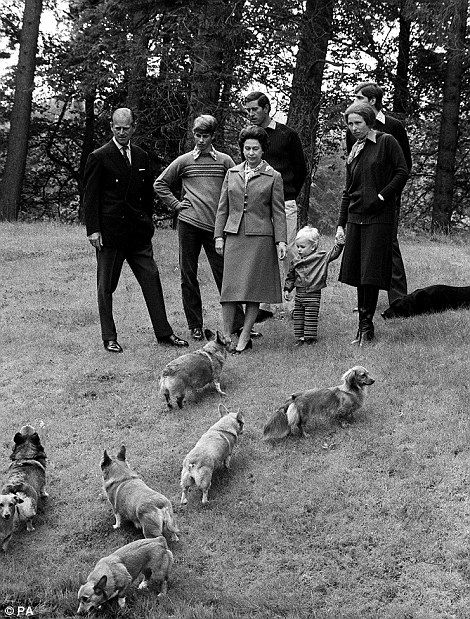 Family outing: The Duke of Edinburgh, the Queen, Prince Edward, Prince Charles, Prince Andrew, Princess Anne and Peter Phillips enjoy a walk...