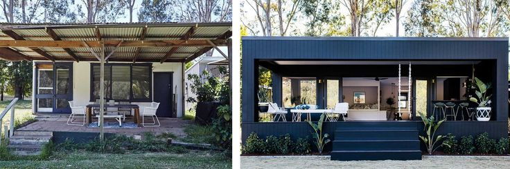 Deck: Before and After! - Three Birds Renovations House 7, River Shack
