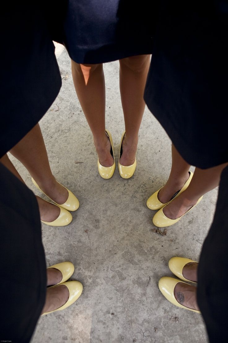Blue Wedding Shoes for Bridesmaids | Bridesmaid Shoes - Colors were Navy Blue & Light Yellow | wedding.