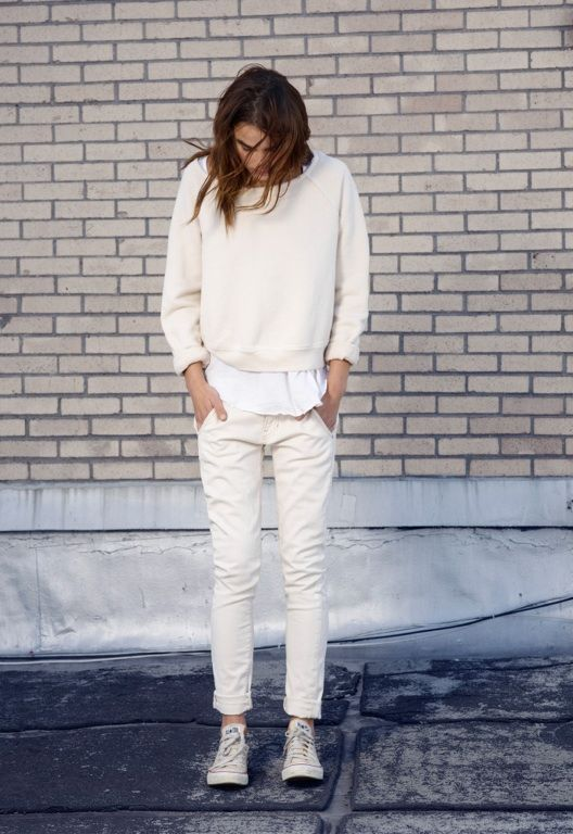 cream white off white beige sweater + shirt + skinny jeans + Converse sneakers
