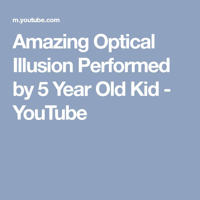 Amazing Optical Illusion Performed by 5 Year Old Kid - YouTube