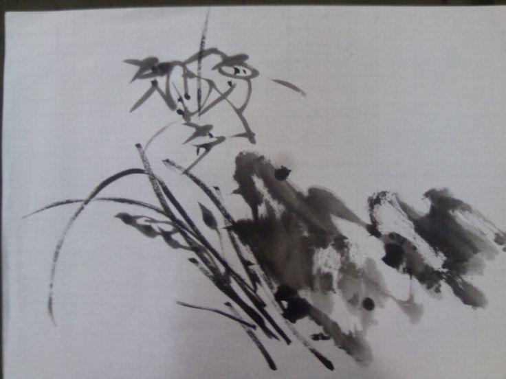 Korean Brush Painting - (3) Orchid & Rock (소현의 난초 그리기)