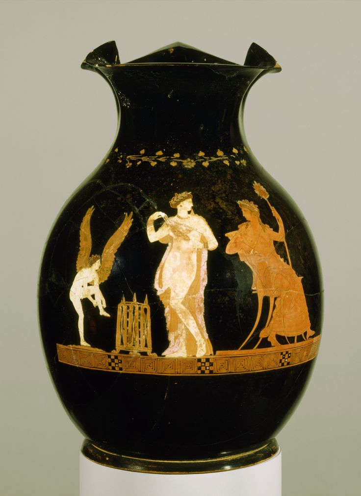 "drakontomalloi: "" Anonymous Greek artist - An oenochoe with the wife of the King Archon of Athens taking off her clothes in the presence of Dionysos. 350 B.C. """