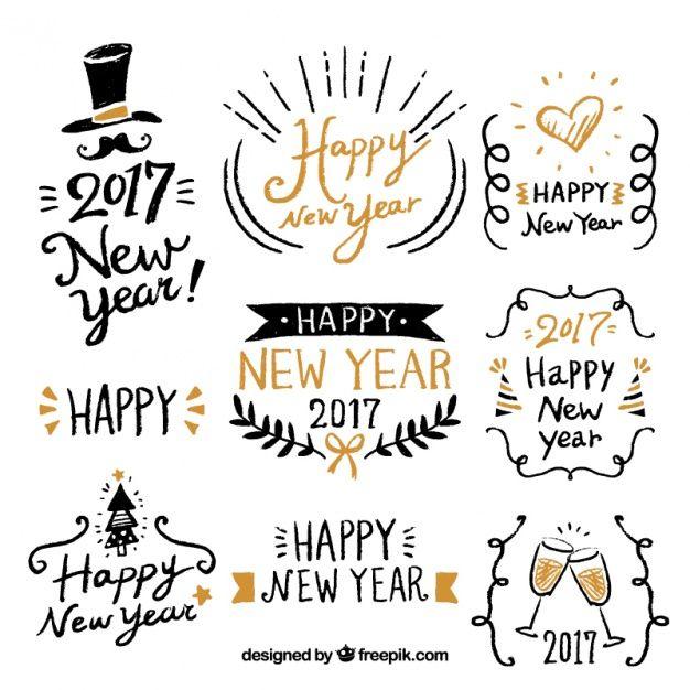 Feliz ano novo com rótulos desenhados à mão fantásticas Vetor grátis