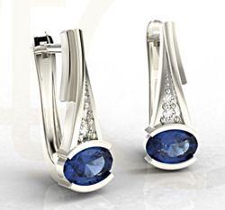 Kolczyki ze złota z szafirami i diamentami / Earrings made from white gold with sapphires and diamonds / 2 345 PLN / #jewellery #bizuteria #earrings #kolczyki #diamonds #sapphires