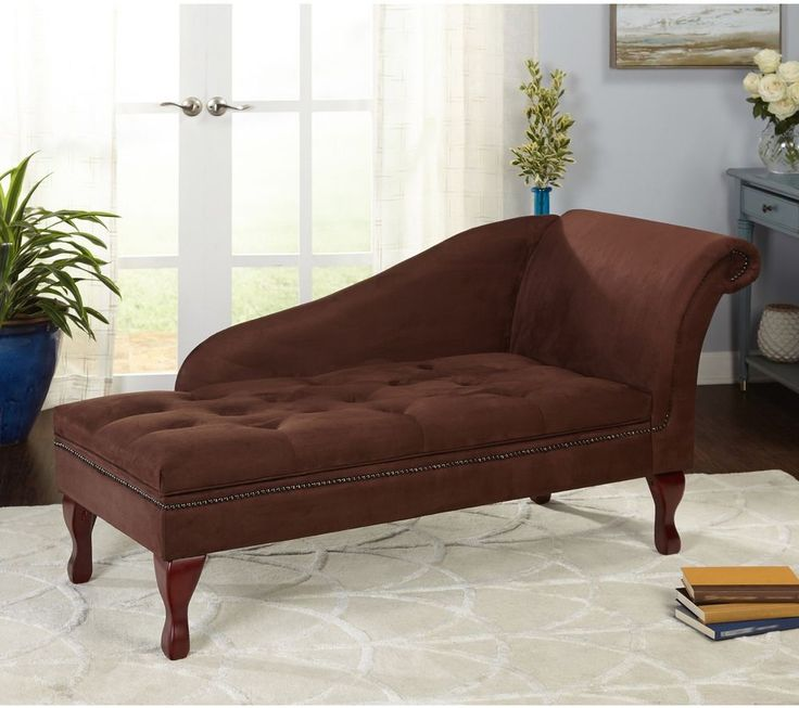 Storage Chaise Transitional Microfiber Fabric Seat Chocolate Brown Furniture New #SimpleLiving #Transitional #Storage #Furniture #Seat #Home