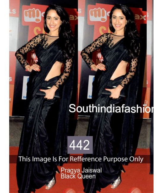 Bollywood Designer Pragya Jaiswal Black Bridal Saree