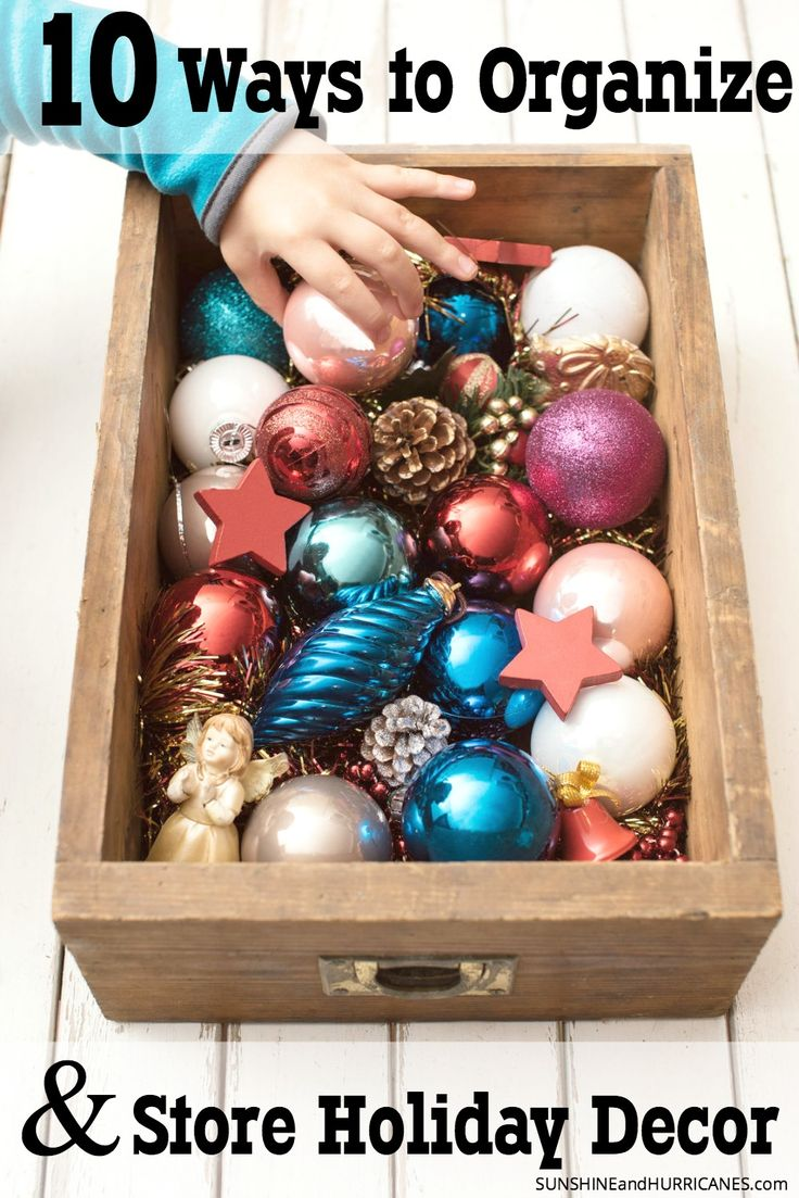 Looking for solutions to get those precious kid made ornaments and other holiday decorations organized and safe? There are lots of affordable and easy options to choose from that will make storing your holiday decor for less of a chore. 10 Ways to Organize and Store Holiday Decor. SunshineandHurricanes.com