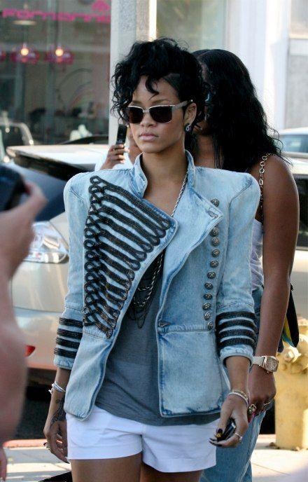 Rihanna-in-Balmain-Denim-Military-Jacket